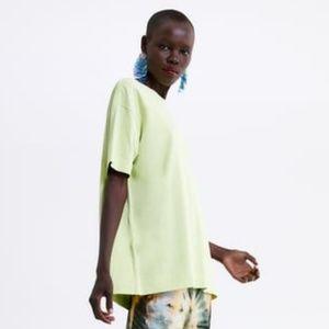 Zara oversized lime green tee
